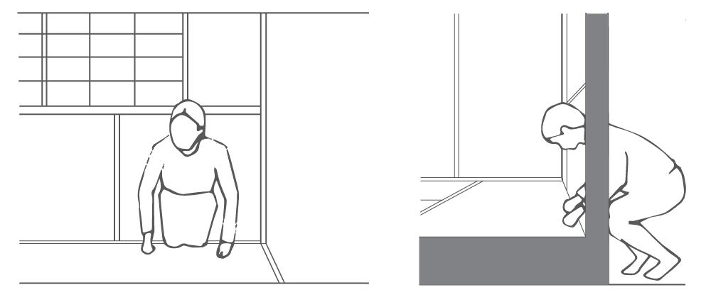 illustraion of how to enter nijiri-guchi