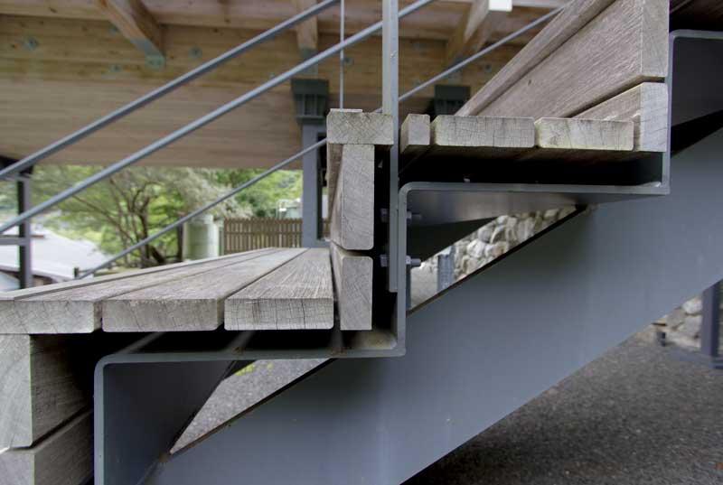 Yusuhara Wooden Bridge Museum Stairs Detail